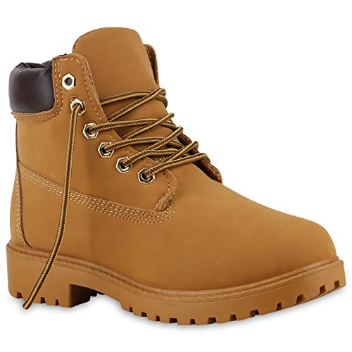 Damen Stiefeletten Outdoor Boots Warm Gefütterte Stiefel Schuhe 128734 Hellbraun Braun Bexhill 38 Flandell