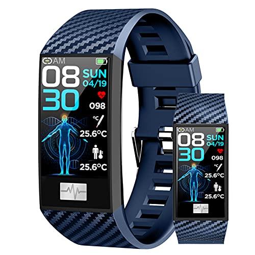 HQPCAHL Smartwatch Temperatura Corporal Relojes Inteligentes Hombre Reloj Digital Monitor De Sueño Reloj Deportivo Hombre Pulsometro Pulsera Actividad Reloj Inteligente Mujer para Android E iOS,Azul