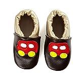 SmileBaby Premium Lauflernschuhe Krabbelschuhe Babyschuhe Baby Schuhe Braun Auto 0 bis 6 Monate