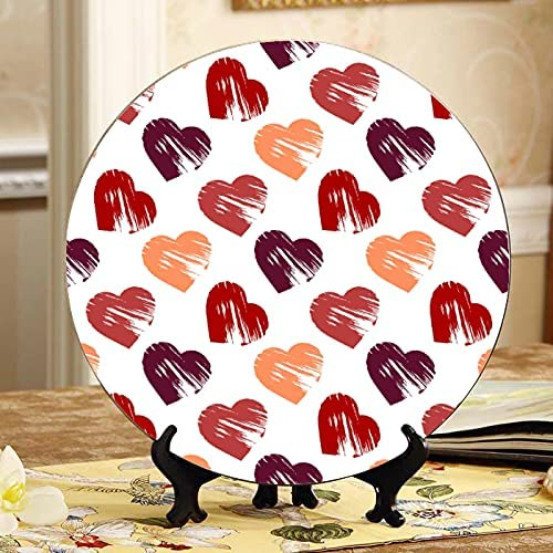 ALALAL Red Hand Drawn Hearts Ceramic Decorate Plates Decorative Import Trust