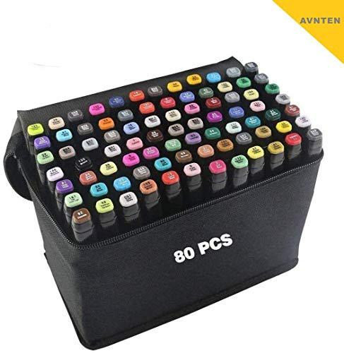 80 Farbige Graffiti Stift Fettige Mark Farben Marker Set für Sketch Marker Stifte Set Mit, Twin Tip Textmarker, Metallic Marker Pens(Schwarze Muschel)