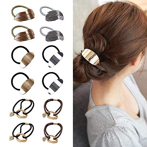 Huture 12 PCS Alloy Retro Punk Metal Tree Leaf Hair Band Rope Wrap Ponytail Holder Cuffs Elastic Hair Tie Ring Headdress Beauty Headwear Fashion Accessory Styling Women Jewelry, 3 Different Style