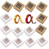 Sonwaha 16PCS Caja para Cupcakes con Cuerda y Ventana Cajas de Papel Kraft Caja...