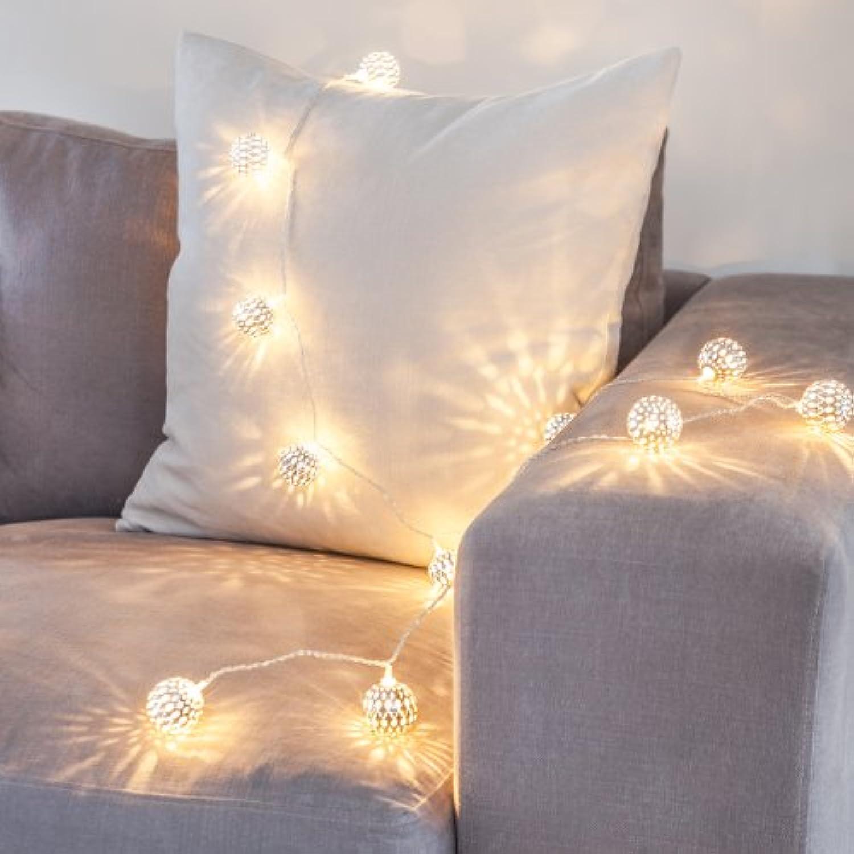 Lights4fun 16er LED Lichterkette Marrokanische silberne Kugel 24V warmwei