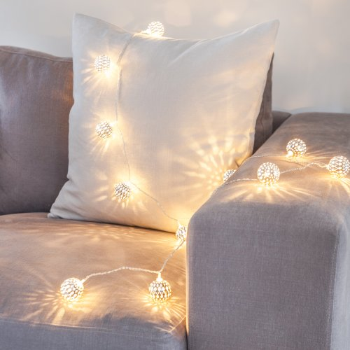 Lights4fun Silver Tangier Indoor Fairy Lights with 16 Warm White LEDs