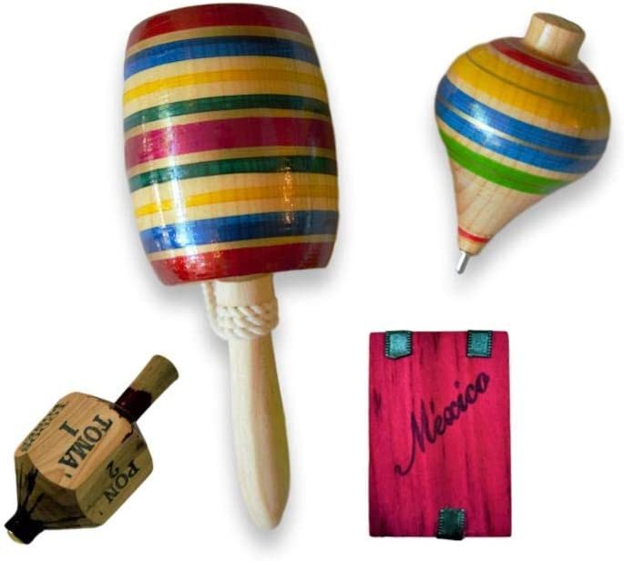 Made in Mexico Authentic for Cinco de Mayo Mexican Party Games Multi Pack 4 Set Fine Wooden Balero, Trompo, Toma Todo /& Tablita Magica Assorted Colors