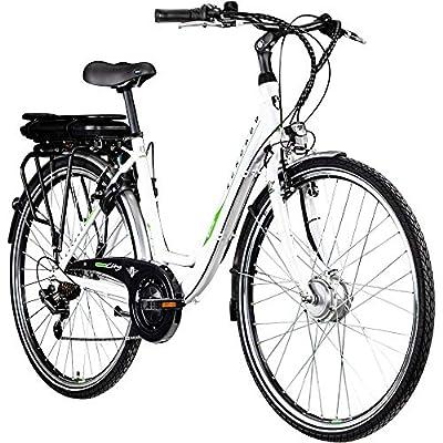 """Zündapp E Bike 26 Zoll Damenrad Pedelec Z504 26"""" Elektrofahrrad E Damenrad (weiß-grün, 49 cm)"""