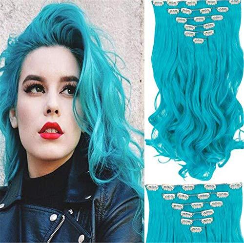 Perruque Lady Bleu Long Cheveux Bouclés Curl Extension Corps Vague Clip Décoration Perruques Femmes Fantaisie