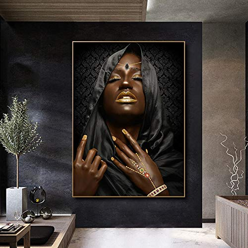 wZUN Retrato de Mujer en Negro y Dorado Turbante Lienzo Pintura Carteles e Impresiones escandinavo Cuadro de Arte de Pared para decoración de Sala de Estar 50x70cm