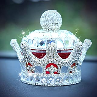uzoho Creative Luxury Bling Crystal Crown Car Perfume Fragrance Bottle Seat Ornament Home Office Air Freshener Home Decor (Silver)