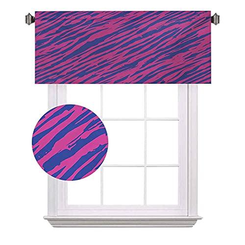 Cortinas de media ventana de cebra rosa, diseño retro, con rayas de cebra murky con estilo ondulado, adecuado para pequeñas ventanas en cocinas y baños, 52 x 45,7 cm, azul cobalto fucsia