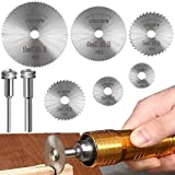 6 Pcs Rotary Drill Saw Blades, Steel Saw Disc Wheel Cutting Blades with 1/8' Straight Shank Mandrel for Dremel Fordom Drills Rotary Tools (22mm 25mm 32mm 35mm 44mm 50mm)