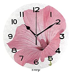 AmaUncle Print Round Wall Clock, 10 Inch Mallow Isolated On White Background Quiet Desk Clock for Home,Office,School No05509