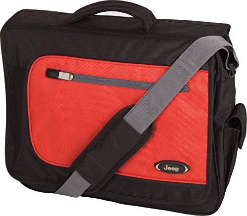 Jeep Bristol Laptop Messenger Bag, Black/Red