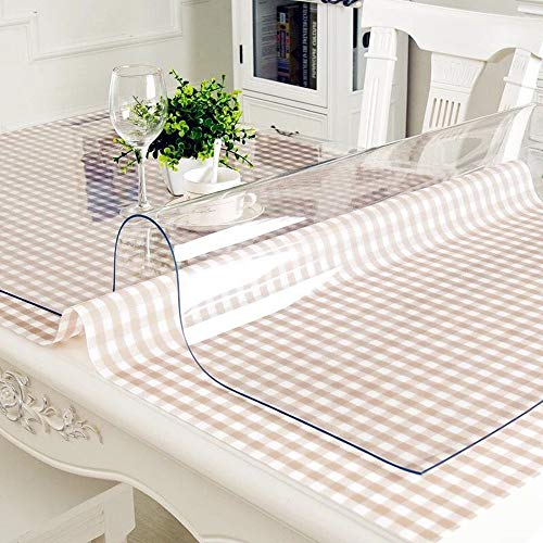 OstepDecor Custom 1.5mm Thick Crystal Clear Table Top Protector Plastic Tablecloth Coffee End Countertop Cover | Rectangular 35.4 x 48 Inches