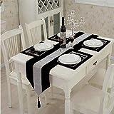 1 camino de mesa clásico con borlas (33 x 180 cm) y cuatro manteles individuales (30,48 x 40,64 cm) para decoración de bodas y fiestas de Navidad (negro)