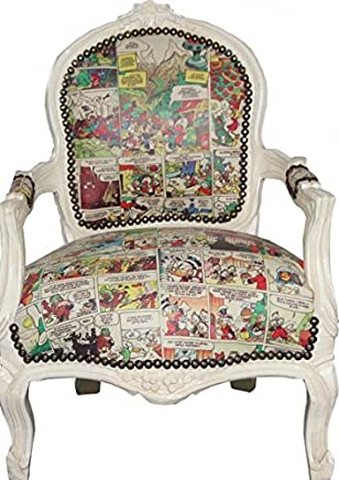 Casa-Padrino Baroque highchair comic leather look antique cream Armchair