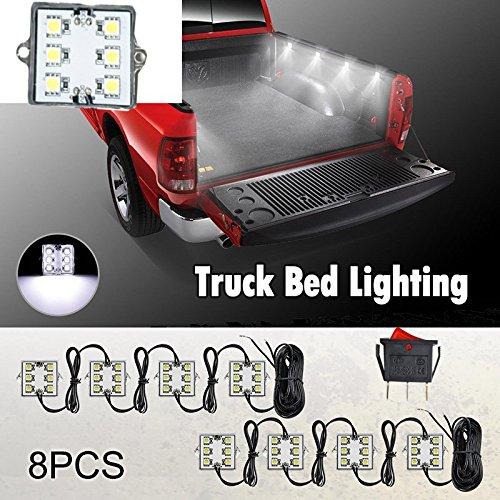 plafonnier led en 12v,JinXiu Kit de lumières de lit de camion 48 LED blanches avec interrupteur marche/arrêt et étanchéité IP67