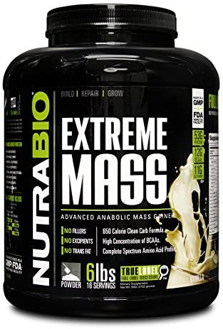 NutraBio Extreme Mass Cheap mail order sales Weight Gainer Vanilla - 2021 model lbs 6 by