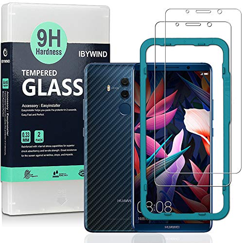 Ibywind Vetro Temperato Protettivo Huawei Mate 10 PRO [Confezione da 2] con Skin in Stile Fibra di Carbonio per Il Retro, Include Kit di Installazione Facilitata