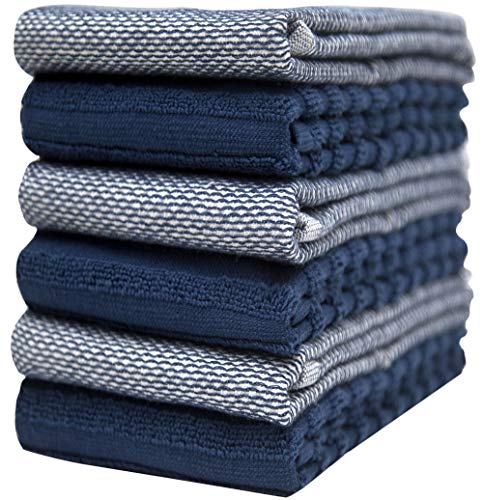 """Microfresh Kitchen Towels (16""""x 27"""", 6 Pack) – Large Cotton Kitchen Hand Towels – Yarn Dyed Reversible & Striped – 410 GSM Highly Absorbent Tea Towels Set with Hanging Loop (Blue)"""