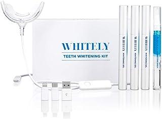 [2019 New] Whitely All-in-One At-Home Teeth Whitening Kit, No Sensitivity, Premium LED Light, Safe 35% Carbamide Peroxide, Whitening Pen (3 Pack), Desensitizing Gel (1 Pack), 20+ Uses, Hi-Smile,Whiten