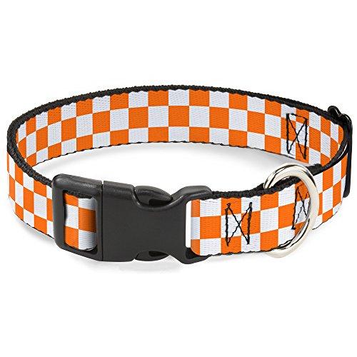 Buckle-Down Plastic Clip Collar - Checker White/TN Orange - 1