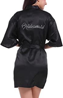 Lovacely Women's Satin Kimono Short Robe for Bridesmaid Wedding Party Getting Ready Robes with Rhinestones Dressing Gown