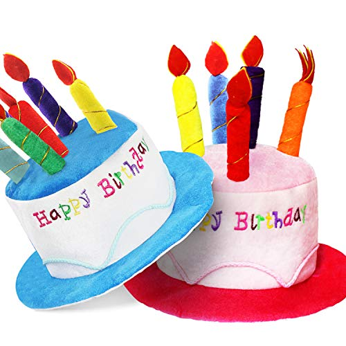 Novelty Place Plush Happy Birthday Cake Hat (2Pcs, Blue & Pink) - Unisex Adult Size Fancy Dress Party Hats - Perfect as Party Favors, Costume Accessories - Cake & 5 Multicolor Candles