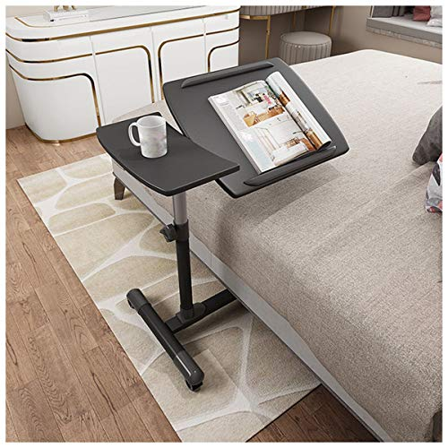 Side Table Adjustable Desks Tilting Sit-Stand Laptop Desk Cart With Mouse Pad Table, Height Adjustable, 360° Swivel Lockable Casters (Color : Black)