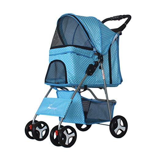 PLDDY Haustier Tasche Leicht faltender Haustier-Kinderwagen-Hundekatze-Teddy-Kinderwagen vier fahrbarer Welpen-Wagen, entfernbarer und bequemer breathable Mehrzweckwagen