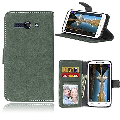Sangrl Libro Funda para Alcatel One Touch Pop C9 / 7047A / 7047D, PU Cuero Cover Flip Soporte Case [Función de Soporte] [Tarjeta Ranuras] Cuero Sintética Wallet Flip Case Verde