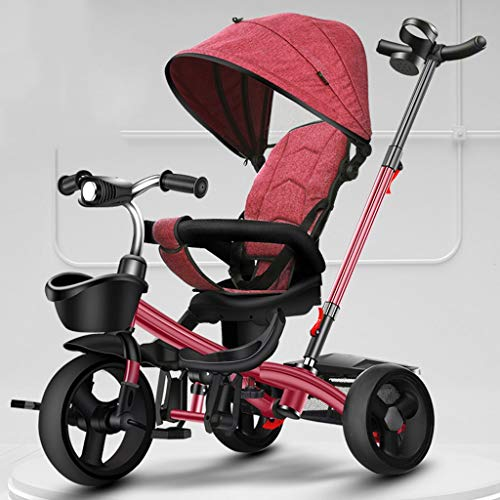 Jiji Kinderwagentje Kinderdriewieler Vouwen Draagbare Kind Fietskar Met Pedaal Verstelbare Trolley Roterende Stoel Opslag Frame Luifel Babywagen