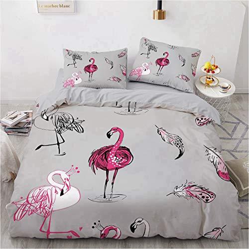 BATTE Juego de funda de edredón reversible con estampado de flamencos, multicolor, con fundas de almohada, para dormitorio de niños, niñas, tamaño G, 220 x 240 cm