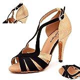 BLOAP 2018 Nuevos Zapatos de Baile Negros/Dorados para Mujer Zapatos de Baile de Fiesta con Brillo y Franela Zapatos de Baile de Salsa Latina,Gold9cm,38