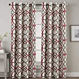 Blackout Curtains 108 inches Long 2 Panels - Elegant Print Taupe and Red Geo Pattern Home Decoration Grommet Thermal Insulated Window Treatment Drapes for High Ceiling Living Room