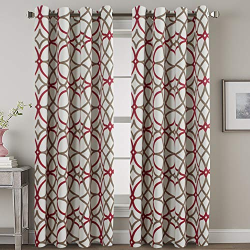 H.VERSAILTEX Blackout Curtains 84 Inch Length 2 Panels Geometry Print Curtain Drapes for Living Room Thermal Insulated Grommet Window Curtains for Bedroom - Modern Geo Line Taupe and Red
