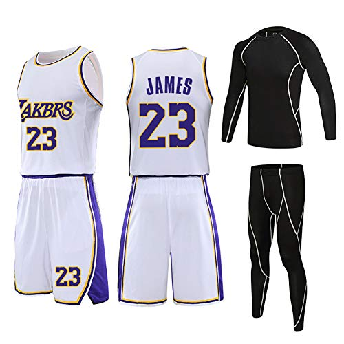 HGFF Fans'basketball-Trikot, Lakers 'James 23, Bry1ant 24, Davis 3 Trainingsanzug Damen-, Kinder- und Jugendtrikots für Spring DIY Breathable Mesh-23-XS