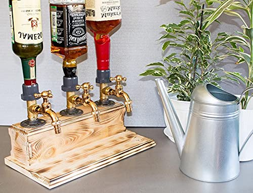 2021 Vatertags-Whisky-Schnaps-Spender aus Holz,Liquor Alcohol Wood Dispenser,Home Party Dinners Bars und Getränkestations-Spender (Three)