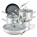 Circulon SteelShield S-Series Stainless Steel Nonstick Cookware Pots and Pans Set with Bonus Utensil, 9 Piece, Silver