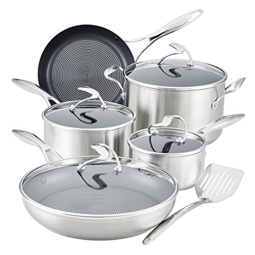 Circulon Stainless Steel Cookware Pots and Pans Set with SteelShield Hybrid Stainless and Nonstick...