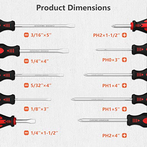 Magnetic Screwdriver Set, XOOL Professional Cushion Grip 5 Phillips and 5 Flat Head Tips Screwdriver Non-Slip for Repair Home Improvement Craft