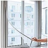 ILS – Mosquitera para ventana, 130 x 150 cm, alta calidad, color blanco, protección contra insectos, red ajustable universal