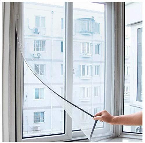 ILS - Zanzariera per Finestra 130 x 150 cm, Alta qualità, Colore Bianco - Protezione da Insetti Rete Regolabile Universale