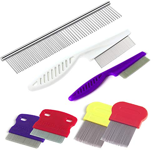 TuNan 7 Pcs Pet Dog Grooming Comb Metal Head Comb for Long Hair Dog Tear Stain Remover Combs Hair Combs Remover for Dogs Cats Pet Grooming Tool Removes Crust Mucus and Stains  5 Types
