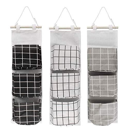 3 szt. wisząca torba do przechowywania, wisząca na ścianie z bawełny i lnu, wisząca torba do przechowywania na ścianie drzwi, wisząca wodoodporna torba do przechowywania, do użytku w sypialni, łazience, kuchni (szara/czarna/biała)