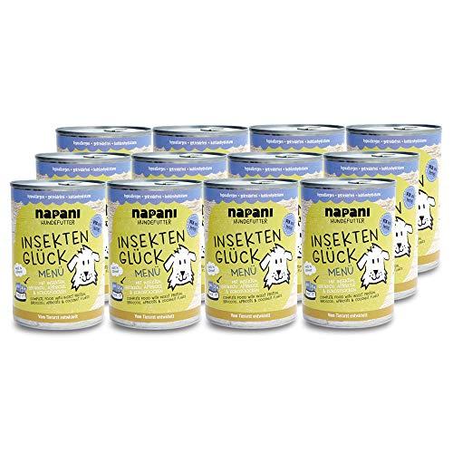 napani Hundefutter Insektenprotein - Verschiedene Sorten & Größen (150g - 4,8kg) - hypoallergen, getreidefrei, kohlenhydratarm (Brokkoli, Aprikose, 12 x 400g)