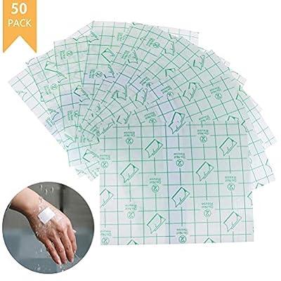 WONDS 50Pcs Clear Stretch Adhesive Bandage Film Waterproof Transparent Adhesive Wound Dressing Fixer Plaster Stretch Fixation Bandage Stretch Adhesive Retention Dressing Tape Bandage