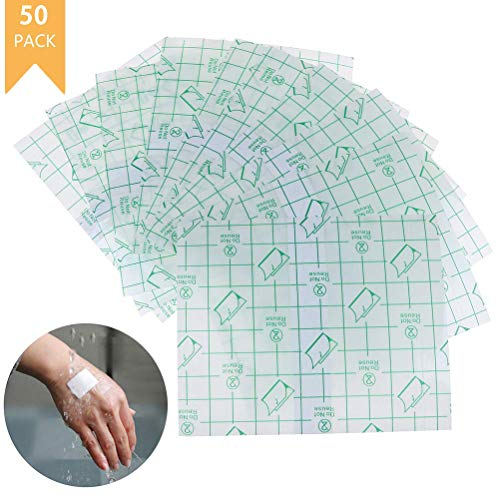 Yesoa 50 Stück transparente Stretch-Bandage Folie wasserdicht transparent selbstklebend Wundverbände Fixer Pflaster Stretch Fixation Bandage Stretch Kleber Retention Bandage