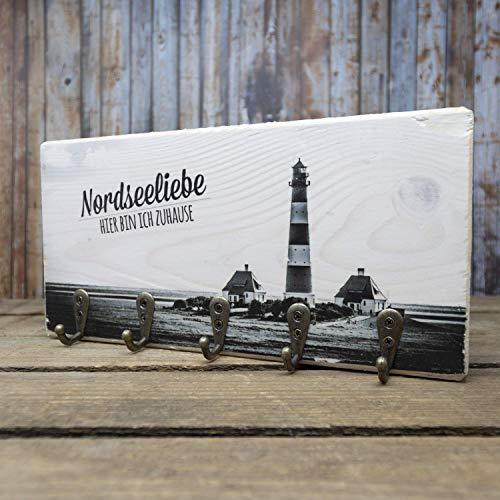 elbPLANKE mit Haken - Nordseeliebe   12x24 cm   Schlüsselbrett von Fotoart-Hamburg   mit 5 Antike Haken aus Holz (Kiefer/Fichte) - 100% Handmade